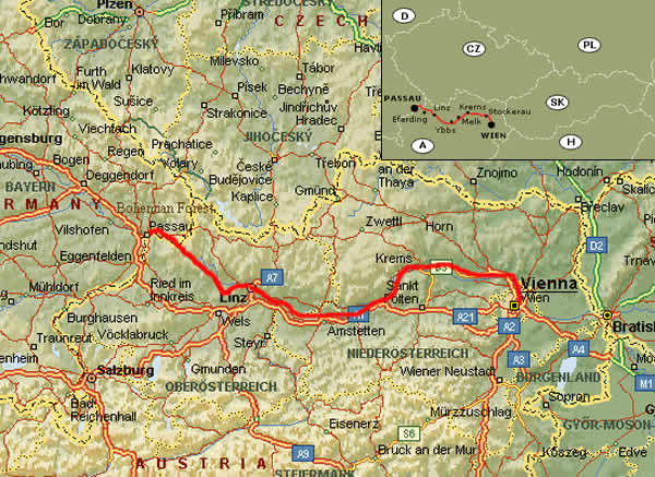 Danube Trail - Route Passau to Vienna